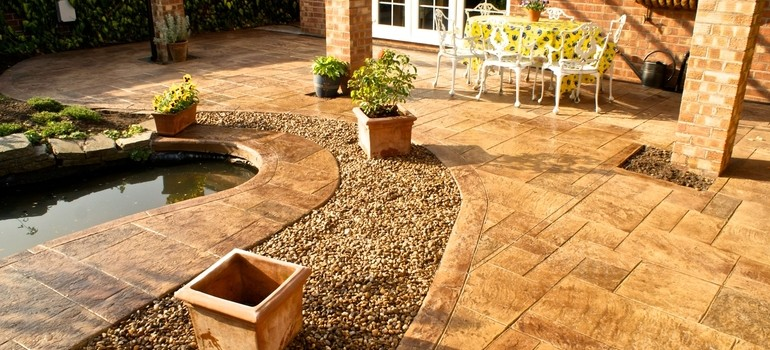 Royal ashlar patio and pond - Nantwich