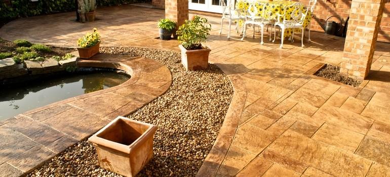 Royal ashlar patio and pond - Nantwich